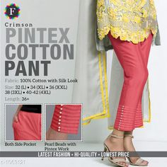 Trousers & Pants Trendy Cotton Women's Pant  *Fabric* Cotton  *Size* L - 32 in, XL - 34 in, XXL -36 in, 3XL - 38 in, 4XL - Up To 40 in To 42 in  *Length* Up To 36 in  *Type* Stitched  *Description* It Has 1 Piece Of Women's Pant  *Work* Beads Work  *Sizes Available* L, XL, XXL, XXXL, 4XL *    Catalog Name: Jivika Pretty Cotton Women's Pants CatalogID_129835 C79-SC1034 Code: 574-1063121-