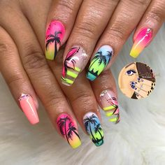 The most popular nail design in hot summer is palm tree nail art design. Palm and coconut trees are hard to tell apart, and we don't need to tell them apart. We just need to know that it's never wrong to use Palm Tree nail art designs in summer. Best Acrylic Nails, Summer Acrylic Nails, Dope Nails, Bling Nails, Palm Tree Nails, Nails With Palm Trees, Popular Nail Designs, Vacation Nails, Beach Nails