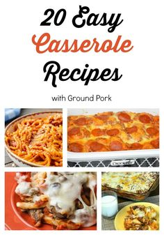 Having easy casserole recipes on hand is key to successful family meals. Ground pork and sausage is our favorite meat to make casseroles taste great at any meal! Pork Casserole, Easy Casserole Recipes, Casserole Dishes, Pork Recipes, Crockpot Recipes, Chicken Recipes, Cooking Recipes, Dump Recipes, Smoothies