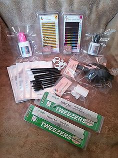 Simple Essentials Kit Professional Eyelash Extensions Set & Individual Eyelashes 16 Row Trays Power Latex Glue Vetus Tweezers GEL Remover Lash/glue Rings Lint Eye Pads for sale online Artificial Eyelashes, Fake Eyelashes, False Lashes, Eyelash Extension Kits, Eyelash Extensions Styles, C Curl, Eyelash Sets, Individual Eyelashes