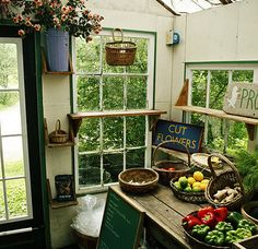 Nice garden shed with lots of light. Could make a nice greenhouse/potting shed. Dream Garden, Home And Garden, Potting Sheds, Potting Benches, Modern Garden Design, Landscape Design, Greenhouse Gardening, Greenhouse Plans, Garden Structures