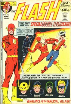 Flash (Mar cover by Carmine Infantino & Dick Giordano Comic Book Pages, Dc Comic Books, Comic Book Covers, Comic Book Characters, Comic Art, Dc Comics Superheroes, A Comics, Flash Comics, Justice Society Of America