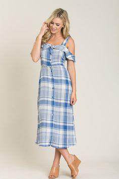 Sharon Blue Plaid Cold Shoulder Midi Dress - Morning Lavender