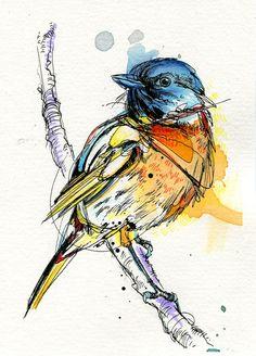 // Roughly Drawn Blue Bird