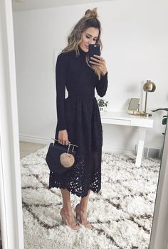 Turtleneck + black lace midi skirt
