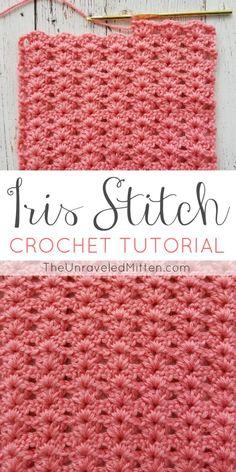 Iris Stitch Crochet Tutorial The Unraveled Mitten Easy Shell Stitch blanket scarf Beginner Bag Crochet, Tunisian Crochet, Love Crochet, Crochet Crafts, Crochet Hooks, Crochet Shell Stitch, Crochet Afghans, Learn Crochet, Double Crochet