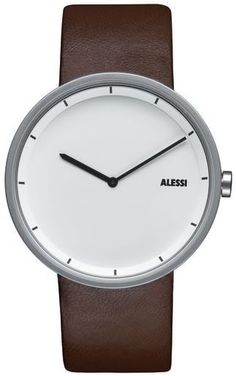 Shop Alessi Men's Quartz Watch with White Dial Analogue Display and Brown Leather Bracelet ✓ free delivery ✓ free returns on eligible orders. Modern Watches, Stylish Watches, Cool Watches, Watches For Men, Casual Watches, Elegant Watches, Swiss Army Watches, Gents Watches, Alessi