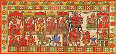 Procession of Indian Religious Festival - Folk Art Paintings (Phad Painting on Cloth - Unframed) Traditional Paintings, Traditional Art, Indian Paintings, Art Paintings, Phad Painting, Indian Folk Art, Wall Patterns, Tribal Art, Painting Techniques