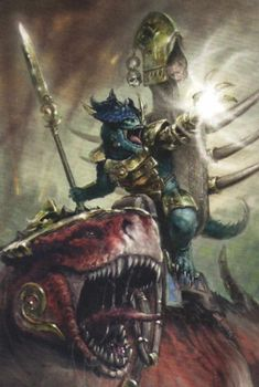 Kroq-Gar,Last Defender of Xhotl on his Carnosaur mount-Grymloq