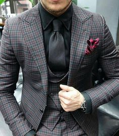 Men's #BlackandGrey Suit Outfit with a Red Pocket Square to Top it Off!! @PharaohsLegacy