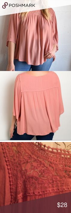 SALE 🎈CRINKLE PLUS SIZE BATWING TOP NO OFFER Color is like a dark peach. 100% rayon. CRINKLE design. BATWING sleeves. 1X Bust 26 pit to pit Length 27 🍁 2X Bust 28 pit to pit Length 28 🍁 3X Bust 30 pit to pit Length 30 Tops Blouses