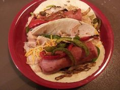 Turkey Sausage in a tortilla with Peppers and Chesse
