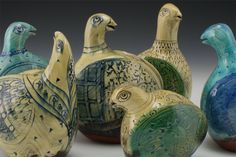 Paddled Bird Group - Paddled earthenware with white slip and stamped pattern. 2014 | Paul Linhares Ceramics