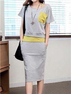 Ericdress Color Block Short Sleeve Women's Skirt Suit