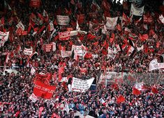 Football, 1977 FA Cup Final, Wembley, Manchester United 2 v Liverpool 1, 21st May, 1977, A crowd of Manchester United fans waving flags and banners to cheer on their team