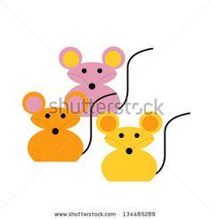 Three Mice Vector Illustration - 134485289 : Shutterstock