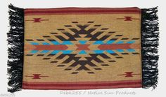 "Pretty woven placemats. Classic southwestern design. 13x19"" with fringed ends. Fabric backed for durability.  Just 7.95 ea w/ free shipping. Table runners to compliment in our ebay store. #placemat #homedecor #southwestern"