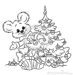 Coloring book for children, Christmas animals, Mouse ...