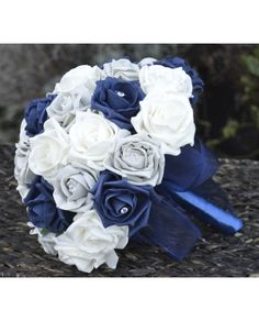 Navy Silver - Rose Bridal Bouquet of Navy Blue and Silver Grey Artificial Roses, Brides size posy Rose Bridal Bouquet, Bridal Flowers, Bridesmaid Flowers, Bride Bouquets, Brooch Bouquets, Dream Wedding, Wedding Day, Bling Wedding, Trendy Wedding