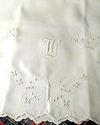 Antique Victorian Whitework Butterfly Monogrammed Pillowcases Pair-Monogram, French, whitework, shams