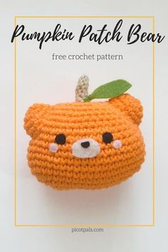 I was inspired by a pattern I saw onTokyoBunnie's Instagram to create this cute pumpkin bear!   I made the bear big enough to be a little accent pillow or a huggable plush… Kawaii Crochet, Crochet Bear, Cute Crochet, Easy Crochet, Crotchet, Crochet Birds, Crochet Animals, Halloween Crochet Patterns, Crochet Patterns Amigurumi