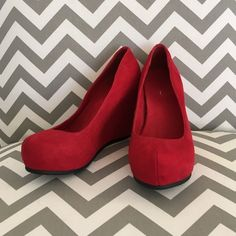 Red Aldo Wedges Red Aldo Wedges worn a handful of times and in great condition size 8. ALDO Shoes Wedges
