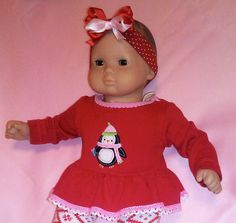 I OPENED MY ETSY STORE!!! BITTY BABY GIRL Red & pink 4 pc Winter Penguin 15 by TheDollyDama, $13.00