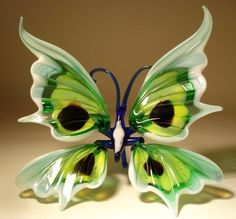 "Blown Glass ""Murano"" Art Figurine Insect White Green Yellow Black Butterfly | eBay"