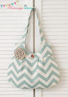 Aqua Blue and Cream Chevron Handmade Purse or Shoulder Bag with Burlap Flower Pin. $35.00, via Etsy.