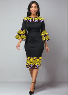 Tribal Print Flare Sleeve Keyhole Neckline Dress Buy it Now :D Best African Dresses, Latest African Fashion Dresses, African Print Dresses, African Print Fashion, African Attire, Women's Fashion Dresses, African Style Clothing, Best African Dress Designs, African Traditional Dresses