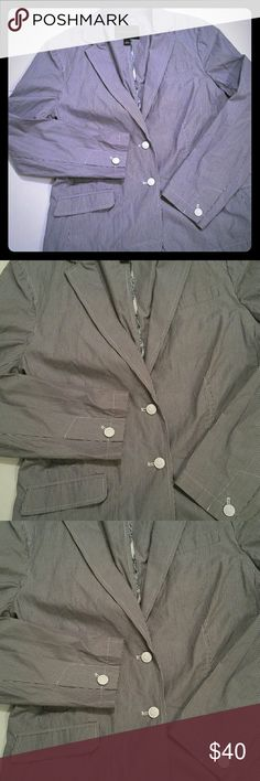 Banana Republic jacket blazer pinstripe large coat Great item here pinstripe is a smoke charcoal grey and white and the buttons? AMAZING! GREAT condition- never worn. From a pet smoke free home Banana Republic Jackets & Coats Blazers