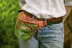 SOLD OUT  100% Ghanian wax cotton fabric. Emerald Green metal zips. Bumbag fanny pack splash proof