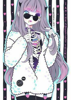 Pastel goth creepy anime girl on we heart it Art Kawaii, Manga Kawaii, Arte Do Kawaii, Anime Pokemon, Anime W, Manga Drawing, Manga Art, Drawing Art, Drawing Ideas