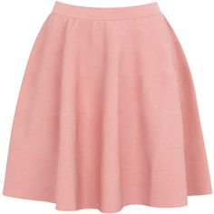 Moschino Cheap and Chic Flared Fine Knit Skirt (630 BAM) ❤ liked on Polyvore featuring skirts, bottoms, saias, faldas, pink, red flare skirt, rayon skirt, flared hem skirt, elastic waist skirt and pink skirt