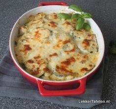 Lasagne courgette, kipfilet, citroen, pecorino, basilicum