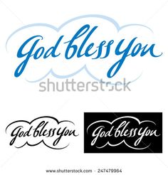 God bless you - abstract vector word phrase, good wish and blessing