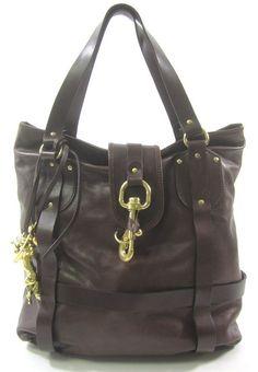 CHLOE Brown Leather Top Zip Front Pocket Edith Tote Handbag ...