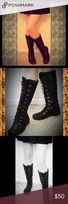 """Keen Black Leather Waterproof Combat Boots lace up Fashionable & functional Keen black leather lace up combat boots: EUC, waterproof outsoles, insulated, lined in black suede. Side zip. Treads in great shape. Super clean. Spray them with leather waterproofing to treat them for the elements. Calf measures 15"""" and is adjustable due to the lacing and tongue (also leather). The heel is about 1.25"""" - shaft height is 15"""" measured down to the top of the heel. Size 9 true to size. Lots of Seasons of…"""