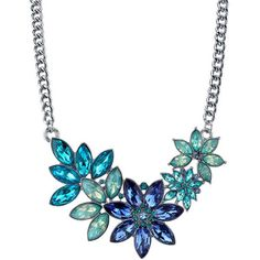 1928 Blue Flower Statement Necklace ($27) ❤ liked on Polyvore featuring jewelry, necklaces, blue, flower necklace, blue statement necklaces, blue jewellery, blossom necklace and blossom jewelry