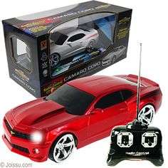 "REMOTE CONTROL CAMARO COPA --Built to a 1:24 Scale --Multi-directional 24 MHz controller --Headlights and brake lights that light up --5 ""AA"" batteries required - not included --Size 8 Inches --Assorted colors --Each window boxed  To see our full line of play vehicles, go to http://www.joissu.com/Toy-Vehicles-Transportation/departments/246/"