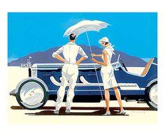 Toile sur châssis BONNERVILLE, bleu et blanc - 40*30