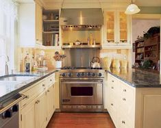 Antique-white painted cabinets! Love them!