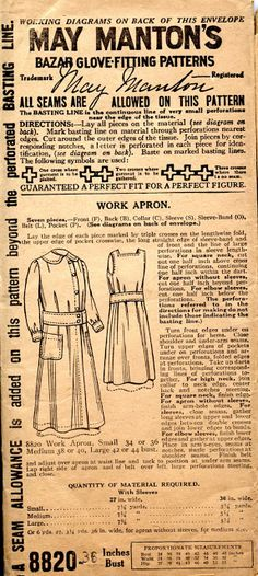 May Manton's 8820 - Work Apron. Ok, technically, yes, good apron, especially if you use something besides buttons, or what you do doesn't involve danger to buttons. Front closures can be very handy. However... The pictured look is kind of hideous.