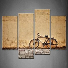 First Wall Art - 4 Panel Wall Art Old Rusty Vintage Bicycle Near The Wall Painting Pictures Print On Canvas Architecture The Picture For Home Modern Decoration piece (Stretched By Wooden Frame,Ready To Hang)