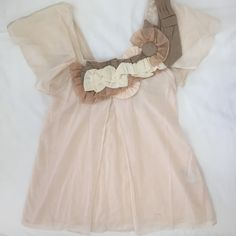 Anthropologie blush square neck blouse Seriously gorgeous! This top is really feminine and well fitted around the bust and then slightly flairs out as it goes down. Beautiful square neck in front and back and intricate pleats and folds with floral detail on neck. Perfect condition! Anthropologie Tops Blouses