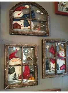 These Christmas window wall decor are adorable - Weihnachten - Natal Christmas Signs, Rustic Christmas, Christmas Art, Christmas Projects, Christmas Wreaths, Christmas Ornaments, Christmas Windows, Christmas Ideas, Christmas Christmas