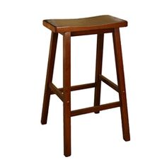 @Overstock.com - Sumatra 24-inch Counter Height Saddle Stool - This strong saddle stool adds functional style to your kitchen design. It is built out of solid wood and covered with a rich walnut for an appealing finish that fits any home. Its curved seat and backless design adds to its comfort.  http://www.overstock.com/Home-Garden/Sumatra-24-inch-Counter-Height-Saddle-Stool/5968805/product.html?CID=214117 $55.99
