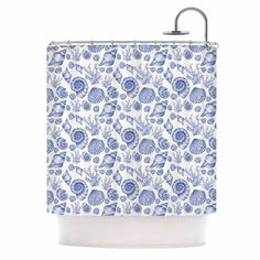 "Alisa Drukman ""Blue Seashells"" Coastal Abstract Shower Curtain"