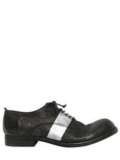 OFFICINE CREATIVE - DYE WASHED LEATHER DERBY SHOES - LUISAVIAROMA - LUXURY SHOPPING WORLDWIDE SHIPPING - FLORENCE