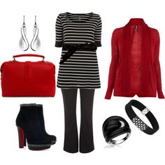 Plus size ladies CAN wear stripes! Love the graphical feel to this bold red, black and white ensemble.